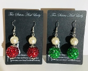 Christmas Earrings, Christmas Jewelry, Green Earrings, Red Earrings, Green Christmas Earrings, Red Christmas Earrings, Pearl and Green Earrings, Cheap Earrings, Elegant Earrings, Bridesmaid Jewelry