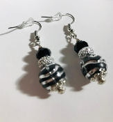 Black and Silver Earrings, Black Bead Earrings, Silver Earrings, Black Silver Swirl Earrings, Elegant Earrings, Cheap Black Earrings, Handmade Earrings