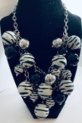 Zebra Necklace, Zebra Earrings, Cheap Jewelry, Gaudy Zebra Earrings, Casual Earrings, Cheap Earrings, Dangling Earrings, African Necklaces, Striped Necklace, Safari Earrings, Black Earrings